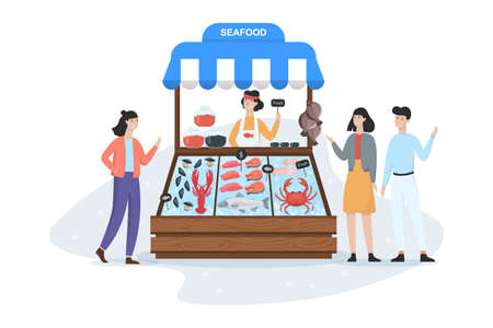 Fish market concept. Seafood in ice and seller standing. Salmon and tuna, showcase full of fish. Street counter and customer. Isolated vector cartoon illustration