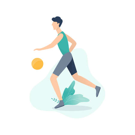 Basketball player in the uniform playing with ball. Athlete character, professional player. Isolated vector illustration in cartoon style
