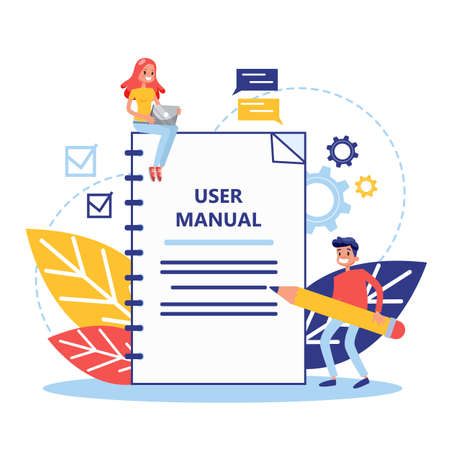 User manual concept. Guide book or instruction. Guidance and tutorial for for users. Handbook and people around. Vector illustration in cartoon style Çizim