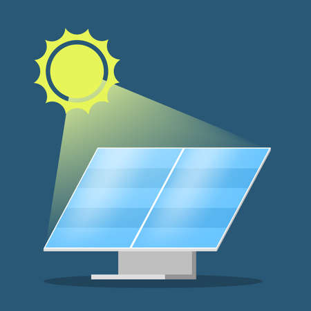 Solar panel alternative energy concept. Electricity power from the sun. Environment and ecology friendly. Flat vector illustration Vettoriali