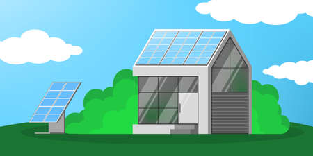 Solar panel alternative energy concept. Electricity power from the sun on the house. Environment and ecology friendly. Flat vector illustration