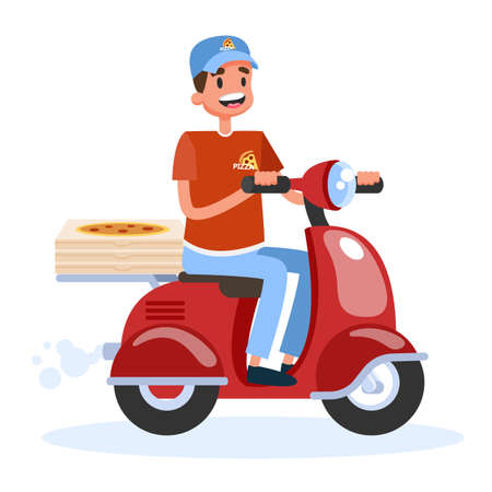 Delivery service concept. Courier with box on moped