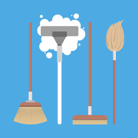 House cleaning equipment set. Collection of tools such as brush and broom. Domestic work concept. Flat vector illustration