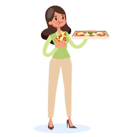Woman holding box and eating slice of pizza.