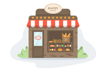 Showcase with fresh tasty bakery products. Bakery
