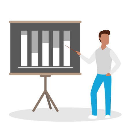 Man making business presentation and pointing at the graph. Presenting business plan on seminar. Flat vector illustration Illustration
