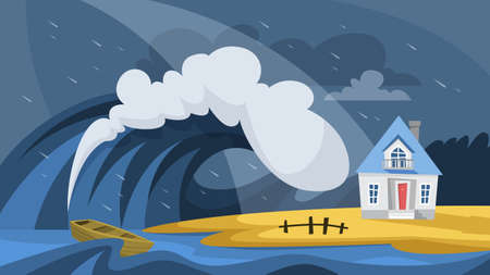 Tsunami disaster. Big wave cover the house