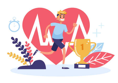 Health web banner concept. Idea of medicine and healthcare. Active lifestyle and fitness. Vector illustration in cartoon style