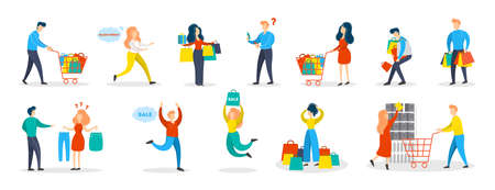 People shopping set. Collection of person with bag