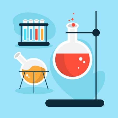 Laboratory equipment made of glass. Chemical tool for experiment. Flask and test tube. Isolated vector illustration in cartoon style