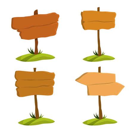 Schildset aus Holz. Sammlung verschiedener Zeichen aus Holz. Leere Plakatwand, leerer Platz für Nachricht. Isolierte flache Vektorillustration Vektorgrafik