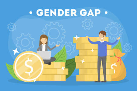 Gender gap web banner concept. Idea of different salary