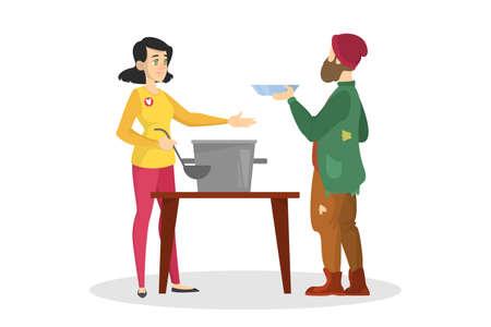 Freiwillige füttern Obdachlosen. Hilfe und Unterstützung Vektorgrafik