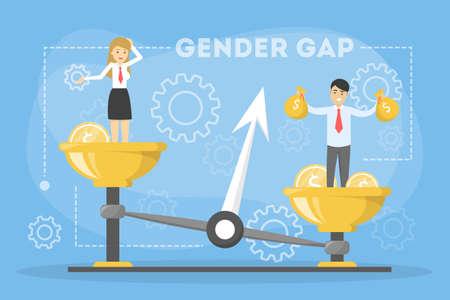 Concept de bannière web d'écart entre les sexes. Idée de salaire différent