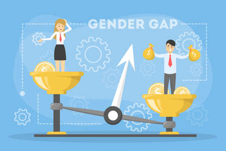 Gender gap web banner concept. Idea of different salary 矢量图像