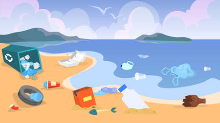 Nature pollution. Garbage and trash on the beach, danger for ecology. Sea waste. Bags and bottles, plastic rubbish. Vector illustration in cartoon style Ilustração