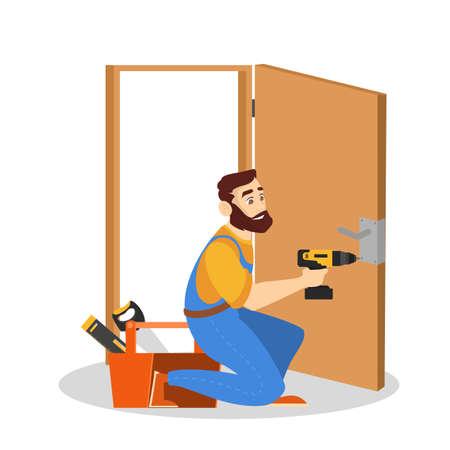 Door service. Repairman in the uniform with special equipment repair door element. Locksmith fix lock. Isolated vector illustration in cartoon style