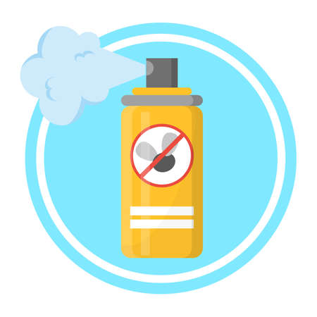 Repellent spray in the yellow bottle. Protection Illustration