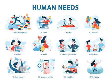 Human needs set. Personal development and self-esteem Çizim