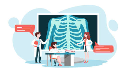 Doctor standing around a big x-ray image of chest. Medical examination of human body and treatment. Skeleton of person. Vector illustration in cartoon style