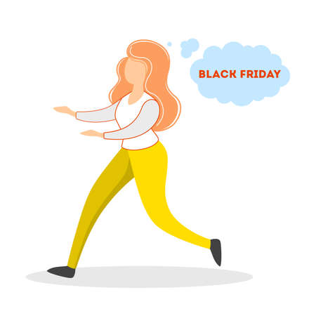 Woman running on the black friday sale