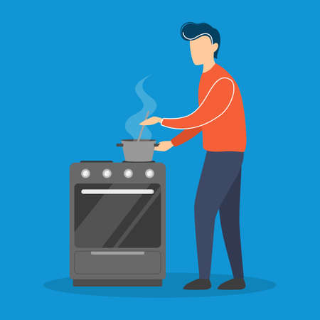 Young man cooking in the kitchen. Guy standing at the stoveand preparing dinner or lunch. Domestic housework. Isolated flat vector illustration