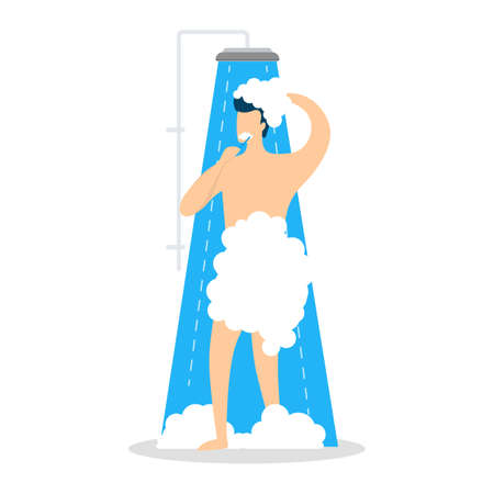 Young man take shower in the bathroom. Male character standing under the water. Everyday routine and hygiene. Isolated vector illustration in cartoon style