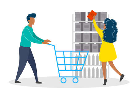 Couple in supermarket with shopping cart byuing food. Family in the grocery store. Isolated flat vector illustration Illustration