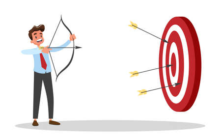 Businessman with bow and arrow at the big target. Ambitious man shooting.