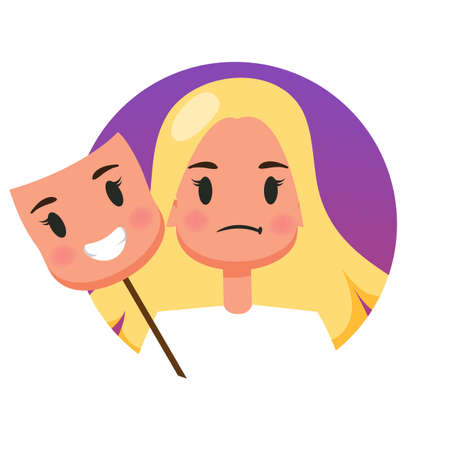 Woman with a sad face behind happy mood mask. Hiding real emotion and pretend. Psychology concept. Vector illustration in cartoon style