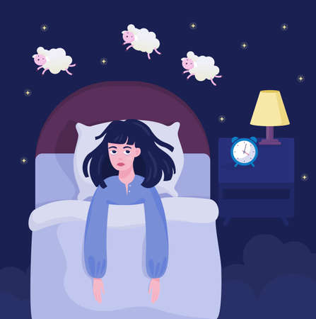 Woman suffering from the insomnia. Girl with no sleep at night lying in the bed and counting sheep. Exhausted character. Flat vector illustration