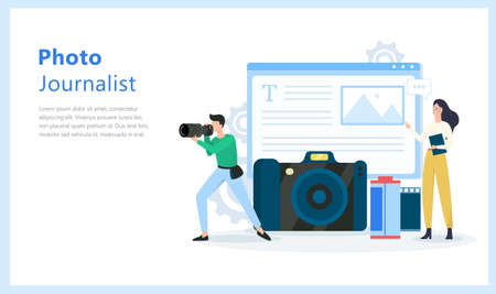 Photo journalist or paparazzi occupation. Photographer with camera shoot for the media. Vector illustration in cartoon style Vectores