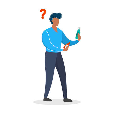 Young man byuer choosing what to buy. Customer in the shop holding two bottles of shampoo. Big assortment. solated flat vector illustration Illustration