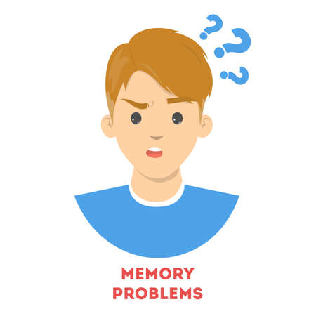 Man suffering from the memory problems. Confused person with question mark above. Brain disease symptom. Isolated vector illustration in cartoon style