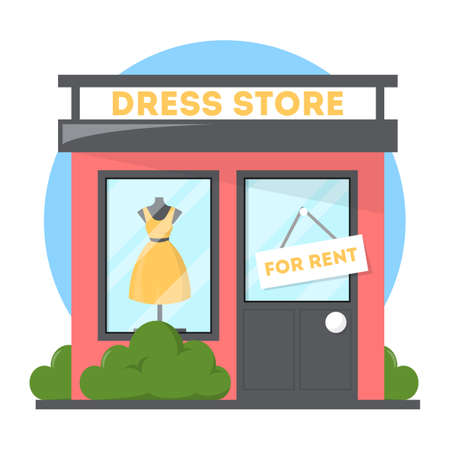 Clothes store with dress on the showcase. Boutique facade. Building in the city front view. Isolated vector illustration in cartoon style