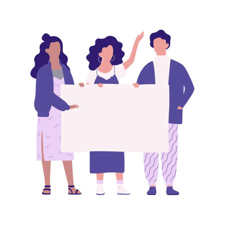 People hold banner. Group of character with blank empty board for message. Advertising concept. Isolated vector illustration in cartoon style