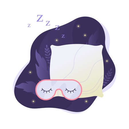 Sleep mask and pillow. Night dream web banner concept. Comfortable cushion for relaxation and sleeping. Vector illustration in cartoon style