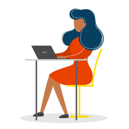 Woman in a suit sitting at the desk and working on the computer. Professional office worker at the workplace. Vector illustration in cartoon style Çizim