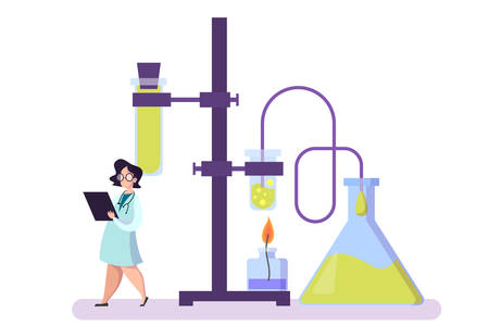 Pharmaceutical research. Scientist making clinical test and analysis. New medicine development. Researcher in uniform. Isolated vector illustration in cartoon style