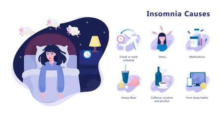 Oorzaken van slapeloosheid infographic. Stress en gezondheidsprobleem Vector Illustratie