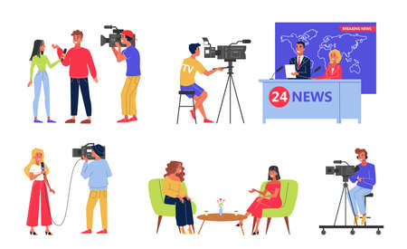Television industry set. Newscaster and journalist profession. TV show with famous person.