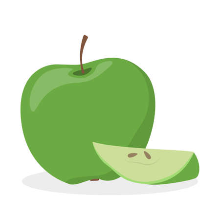 Green apple. Sweet tasty slice of fruit, delicious meal.