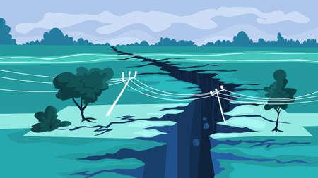 Earthquake concept. Natural disaster, a giant crack Vetores