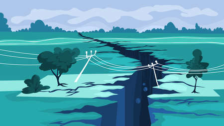 Earthquake concept. Natural disaster, a giant crack Illustration