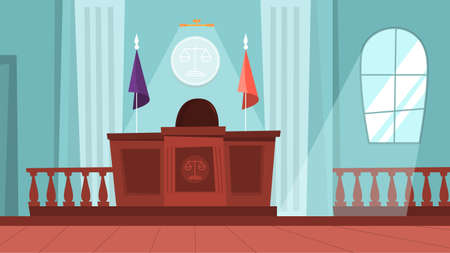 Court building interior with empty courtroom. Trial process Illustration