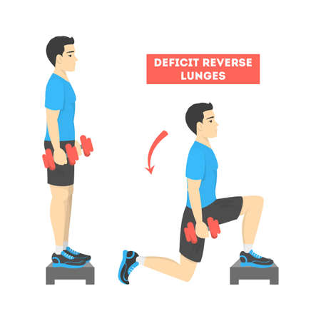 Man doing reverse lunges exercise for fit body