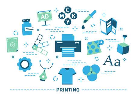 Printing concept. Printer machine, big industry. Isolated illustration Vetores