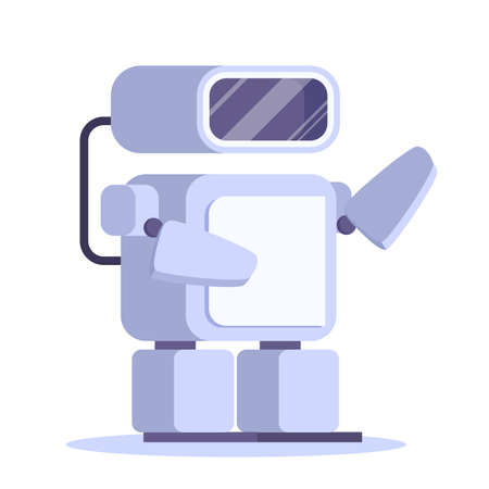 Robot, futuristic character of white color. Idea of automation Illustration