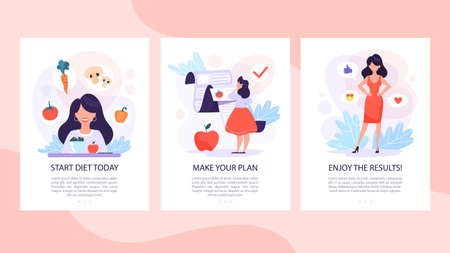 Diet set of mobile banner concept. Woman eat healthy Illustration