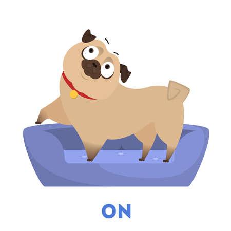 Apprendimento del concetto di preposizione. Carlino animale sul cuscino. Illustrazione educativa vettoriale isolato in stile cartone animato